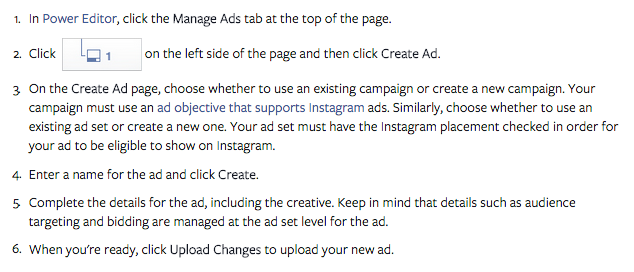 Creating an Instagram ad in Power Editor