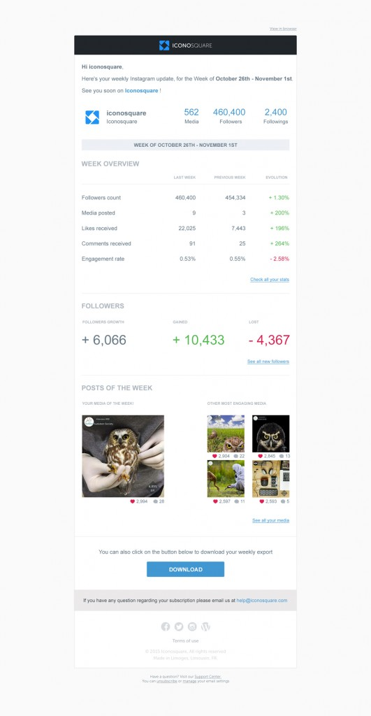 Export your Instagram analytics and hashtag performance on Iconosquare