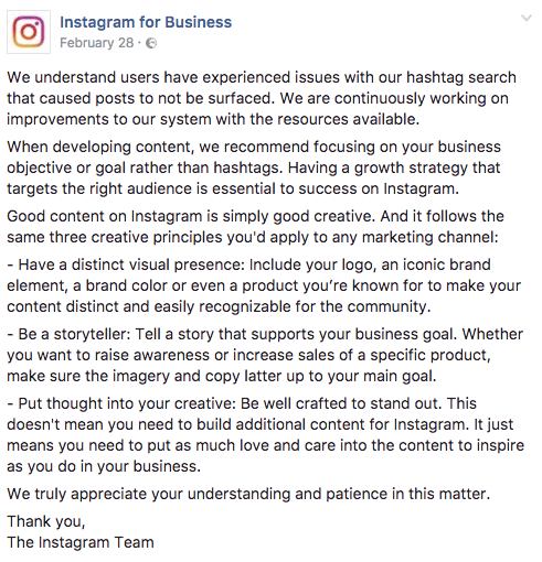 Instagram for business post