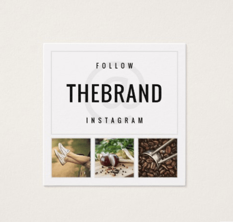 Follow brands on Instagram business card example