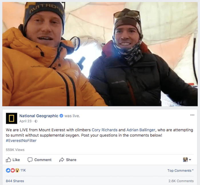 National Geographic live from Everest on Facebook Live