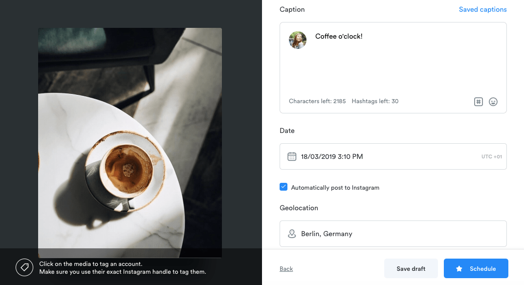 Instagram tool for Scheduling content