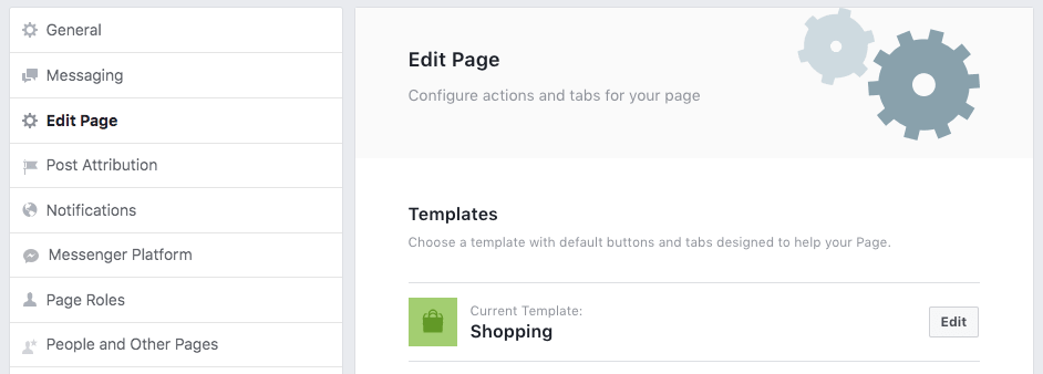 Facebook Page template for Shopping