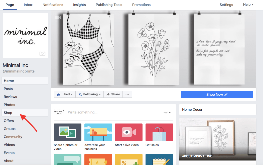 Shop section on Facebook for ecommerce shops