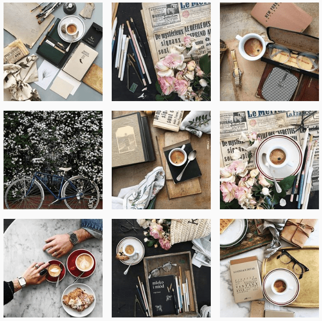 Brown color palette on Instagram