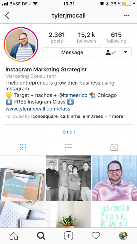 Example of call to action in Insta bio