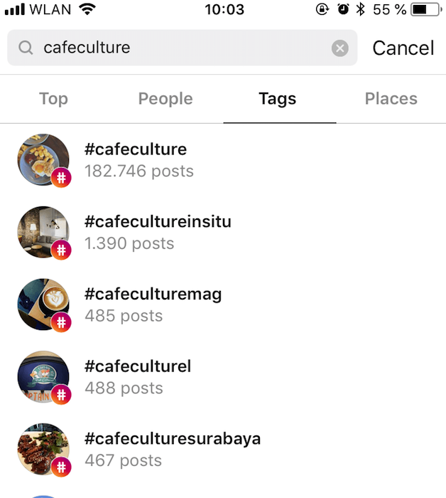 Increase Your Instagram Engagement Rate searching recommended tags to engage with