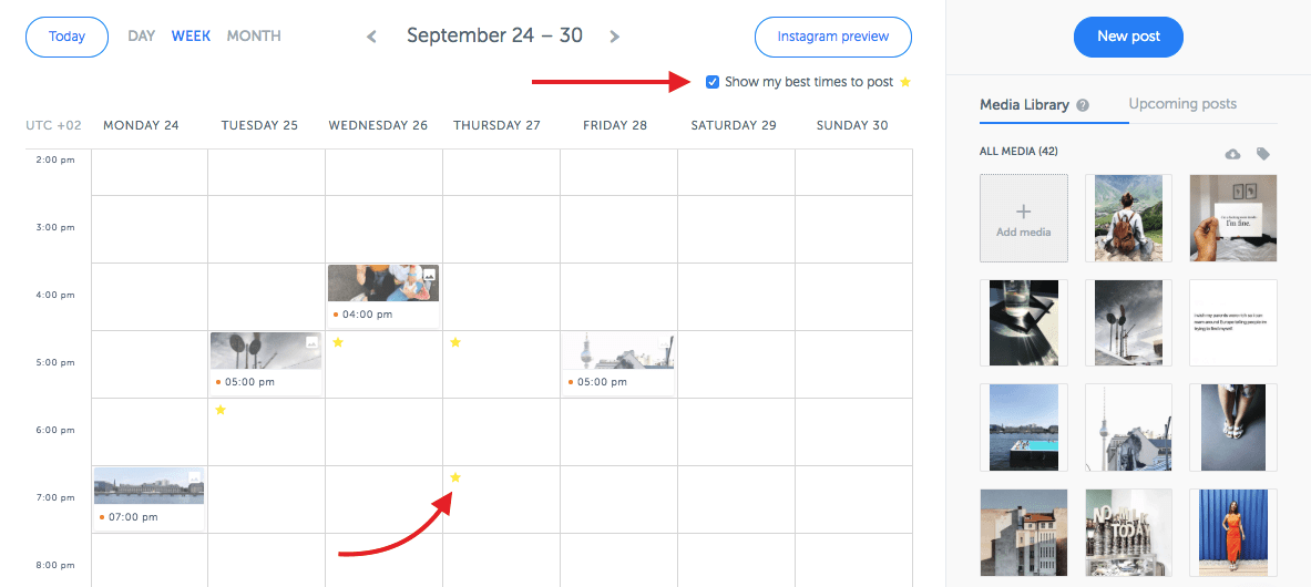 Instagram Scheduler by Iconosquare shows you the best time to post on Instagram