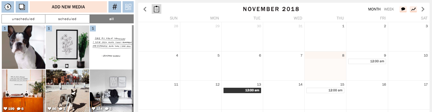 Planoly offers a visual planner, Instagram Scheduler, and basic Instagram analytics