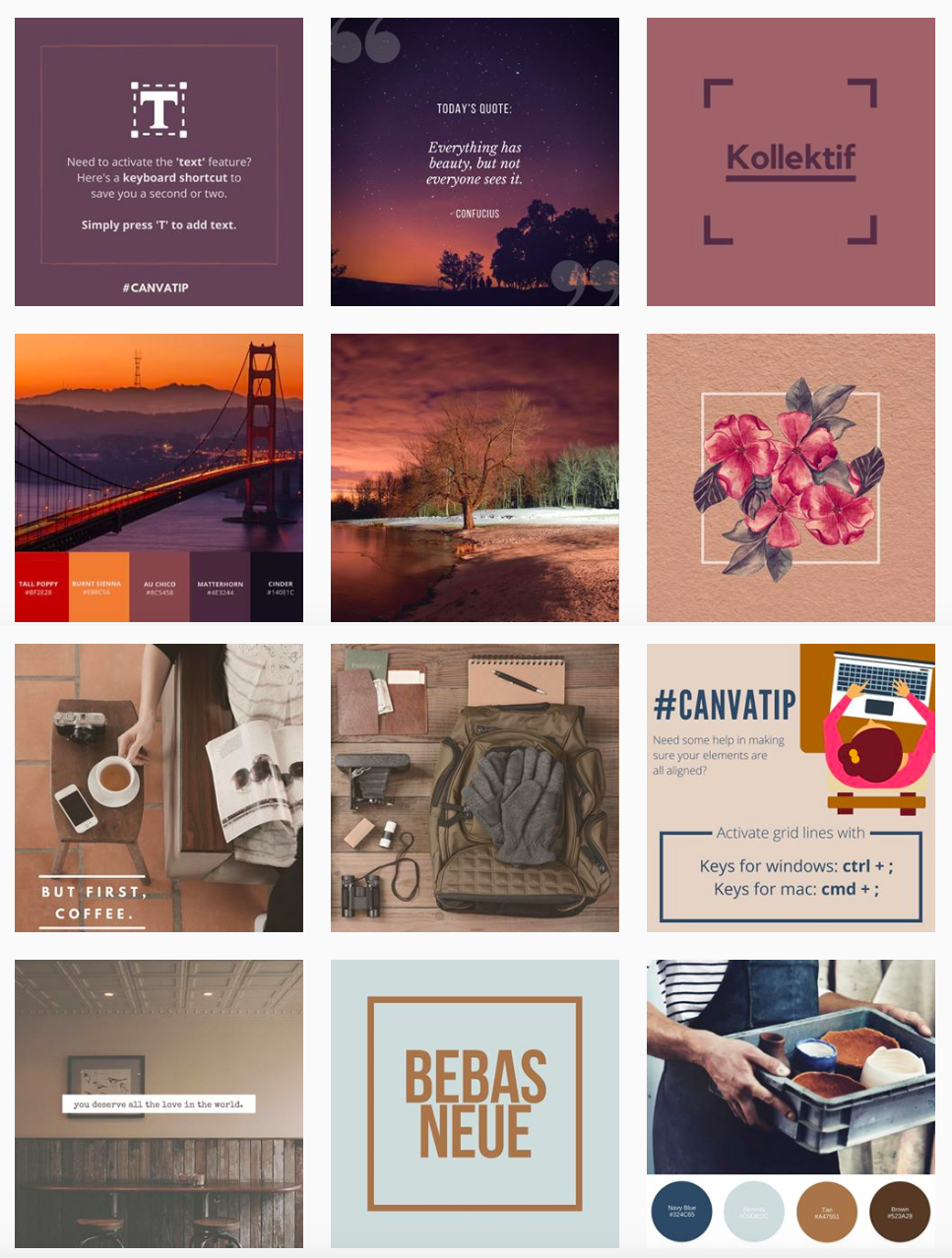 Canva Instagram feed example for your strategy on Instagram
