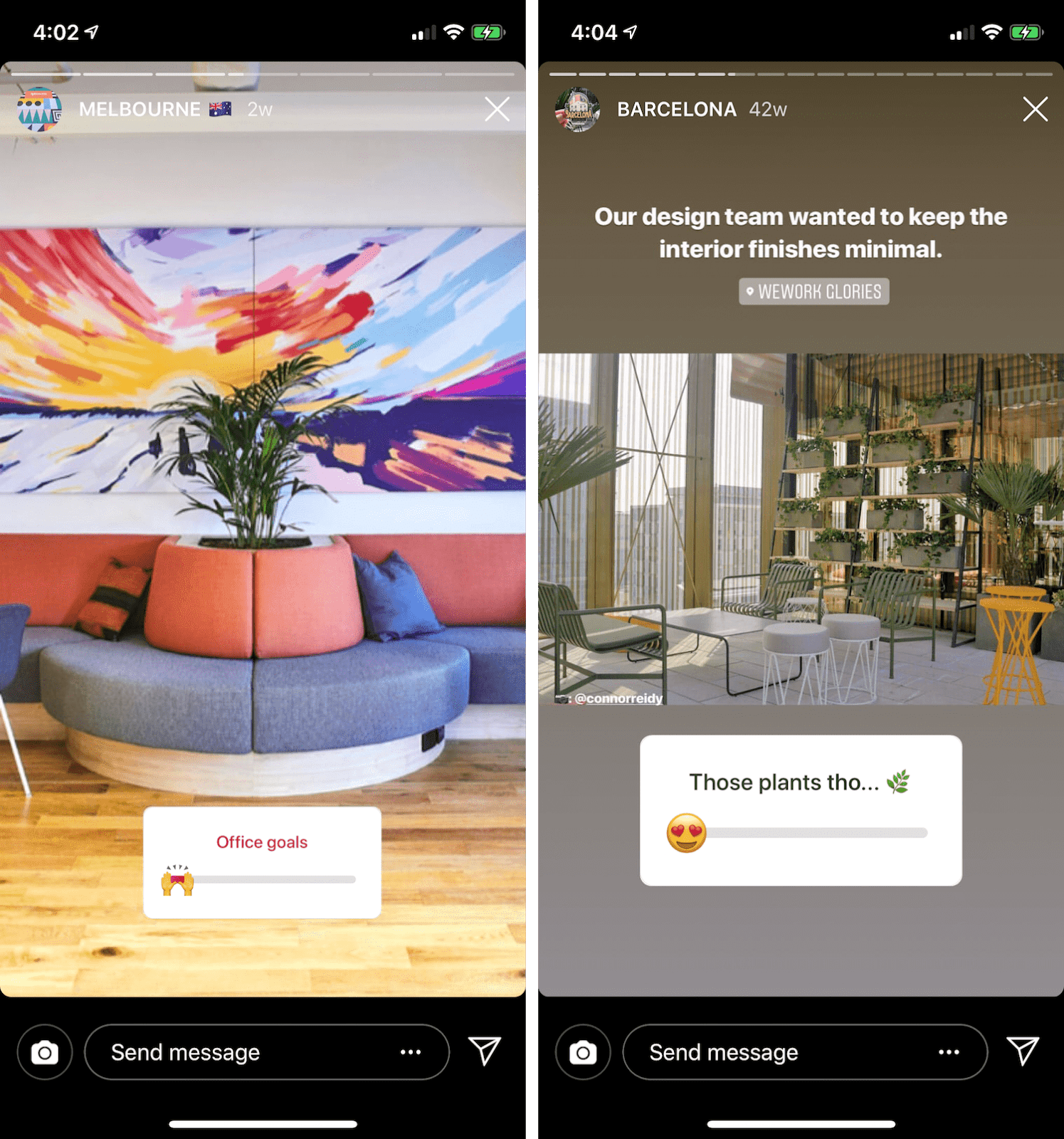 Instagram Poll Ideas from WeWork