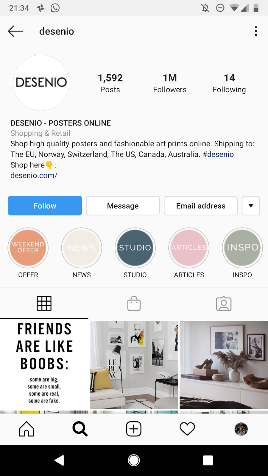 Optimize Instagram bio for business