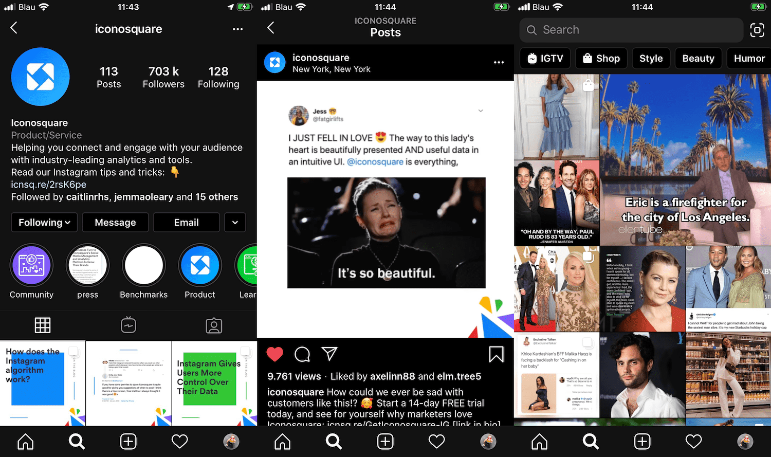 Instagram Dark Mode example from Iconosquare