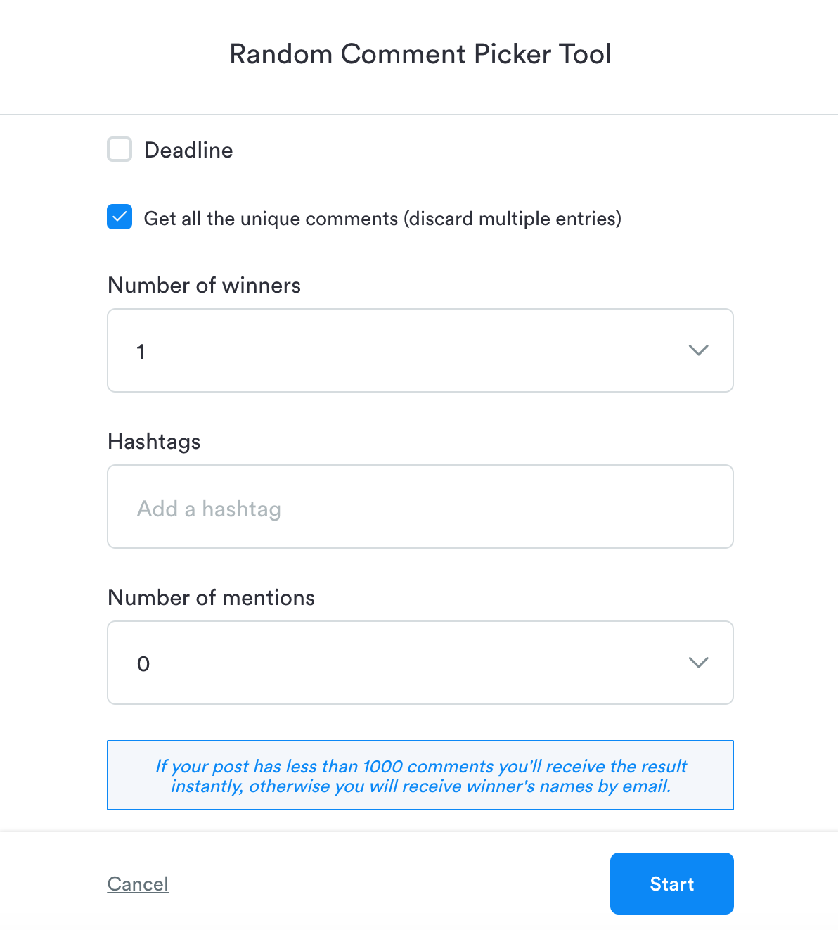 Random Comment Picker Tool