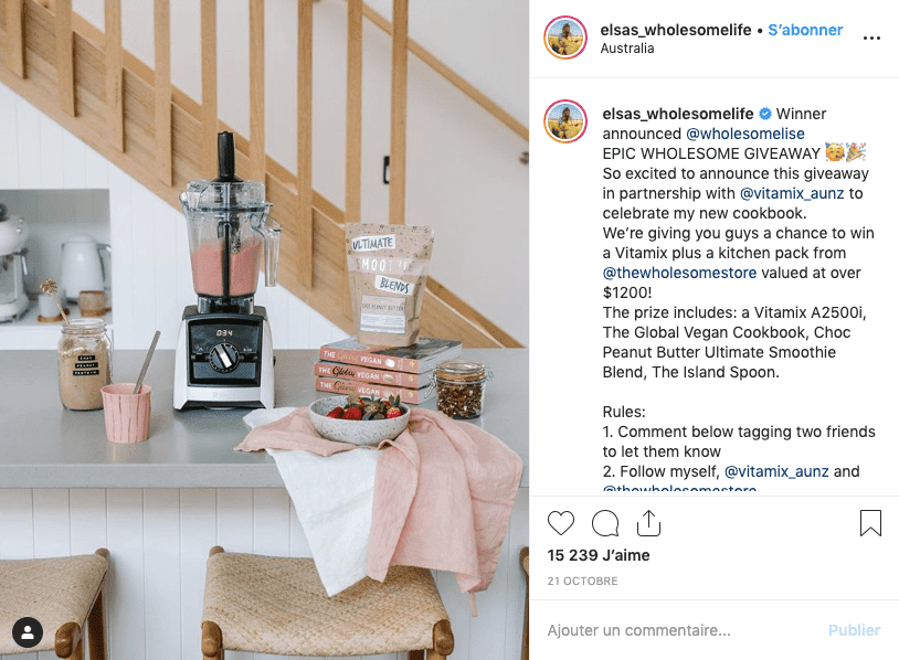 Brand partnerships on Instagram as giveaway options